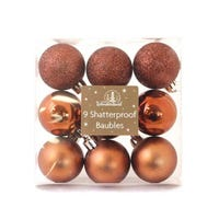 Baubles Shatterproof Arctic Luxe Copper 9 Pack