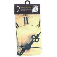 Photochromatic Print Cushion Covers Vintage Clock 2 Pack