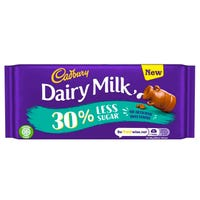 Cadbury Dairy Milk 30% Less Sugar Chocolate Bar 85g