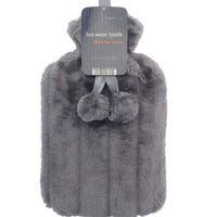 Hot Water Bottle with Fur Cover Grey 2L