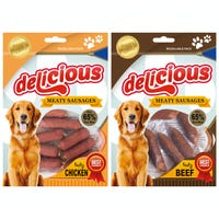 Delicious Meaty Sausage Dog Treat 2 Flavours