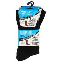 Mens Diabetic Socks in Black Size 6-11 3 Pack