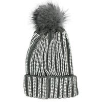Diamante Embellished Bobble Hat in Grey