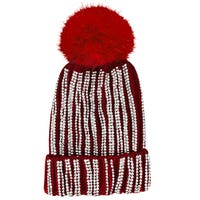 Diamante Embellished Bobble Hat in Red