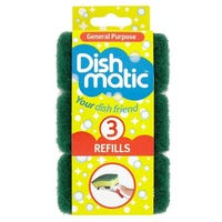 Dishmatic Wash Up Brush Scrubbing Head Refill 3 Pack