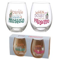 Pop the Prosecco Tumblers with Prosecco Slogans 2 Pack