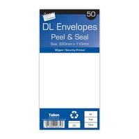 DL White Peal & Seal Envelopes 50 Pack 80gsm
