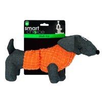 Plush Dachshund Squeaky Dog Toy in Orange