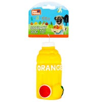 Squeaky Orange Bottle Dog Toy