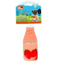 Squeaky Strawberry Bottle Dog Toy
