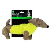 Plush Dachshund Squeaky Dog Toy in Green