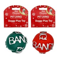 Christmas Squeaky Ball Dog Toy Assorted