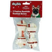 Drools Festive Rawhide Knotted Bones 2 Pack