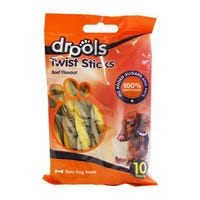 Drools Twist Sticks Beef Flavour 10 Pack