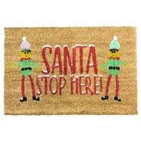 Coir Doormat Elf Santa Stop Here
