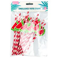 Summer Party Straws with Watermelon Design 20 Pack