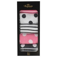 Exquisite Ladies Socks Gift Box in Stripes and Spots 5 Pack