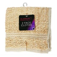Glamour Essentials Face Cloths in Beige 2 Pack