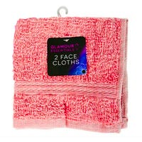 Glamour Essentials Face Cloths in Pink 2 Pack