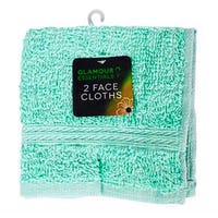 Glamour Essentials Face Cloths in Green 2 Pack