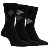 Farah Men's Classic Argyle Socks in Black and Charcoal Size 6-11 3 Pack