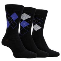 Farah Men's Classic Argyle Socks in Black and Purple Size 6-11 3 Pack