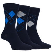 Farah Men's Classic Argyle Socks in Black and Blue Size 6-11 3 Pack