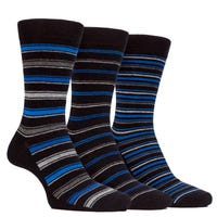 Farah Men's Classic Stripe Socks in Black and Navy Size 6-11 3 Pack