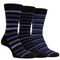 Farah Men's Classic Stripe Socks in Black and Purple Size 6-11 3 Pack
