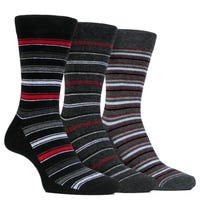 Farah Men's Classic Stripe Socks in Grey and Red Size 6-11 3 Pack