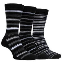 Farah Men's Classic Stripe Socks in Black and Charcoal Size 6-11 3 Pack