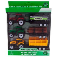 Farm Tractor and Trailer Set 3 Pack