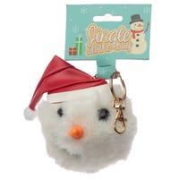 Jingle All the Way Christmas Snowman Pom Pom Keyring