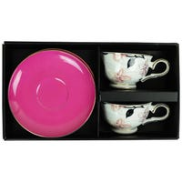 Espresso Cup and Saucer Set in Pink Orchid Design 4 Piece