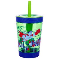 Spill Proof Tumbler with Straw in Green Super Hero 420ml