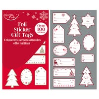 Christmas Foil Sticker Gift Tags 100 Pack