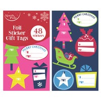 Christmas Foil Sticker Gift Tags 48 Pack