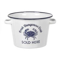 Enamel Seafood Bucket White and Blue