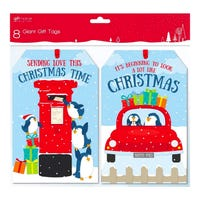 Giant Christmas Penguin Gift Tags 8 Pack