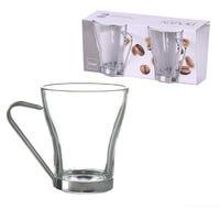 Glass Mug with Metal Handle 2 Pack