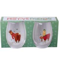 Festive Friends Glass Tumblers Alpacas 2 Pack