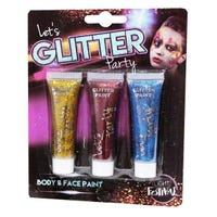 Let's Glitter Party Body & Face Paints Gold, Red & Blue 3 Pack