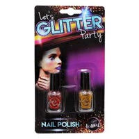 Let's Glitter Party Nail Polish Red & Orange 2 Pack