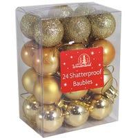 Shatterproof Baubles Gold 24 Pack