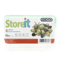 Edgo 4 x Food Containers Green 260ml