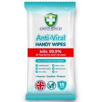 Green Shield Anti-Viral Handy Wipes 15 Pack