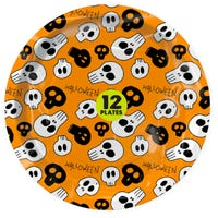 Halloween Paper Plates Orange 12 Pack