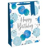 Happy Birthday Blue Spots Large Gift Bag