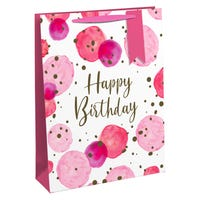 Happy Birthday Pink Spots Large Gift Bag