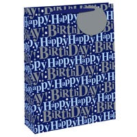 Happy Birthday Blue Glitter Large Gift Bag